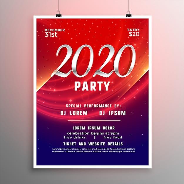 Шаблон флаера или плаката для новогодней вечеринки 2020 Бесплатные векторы