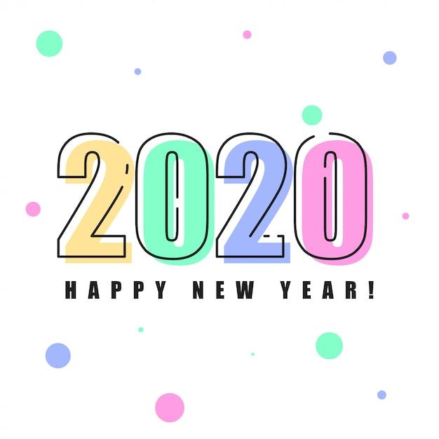 新年あけましておめでとうございます2020年背景イラスト Premiumベクター