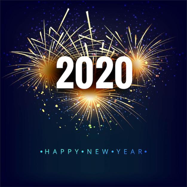 Прекрасный фестиваль 2020 новый год празднование карты Бесплатные векторы