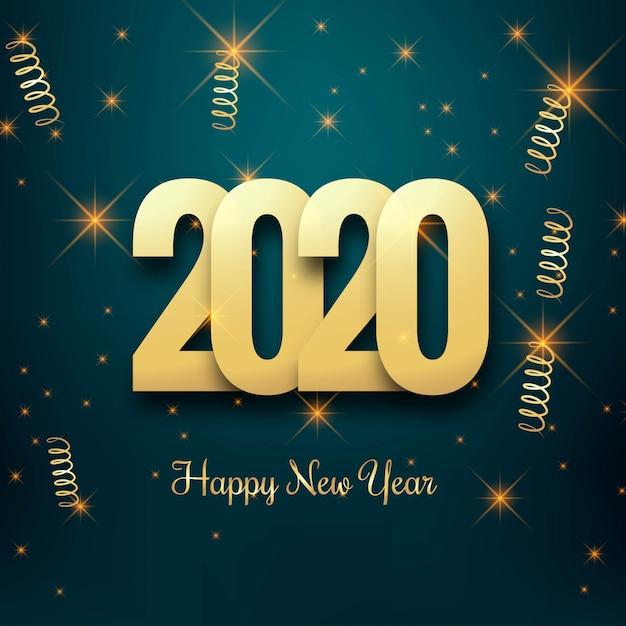 Новогодняя открытка 2020 Бесплатные векторы