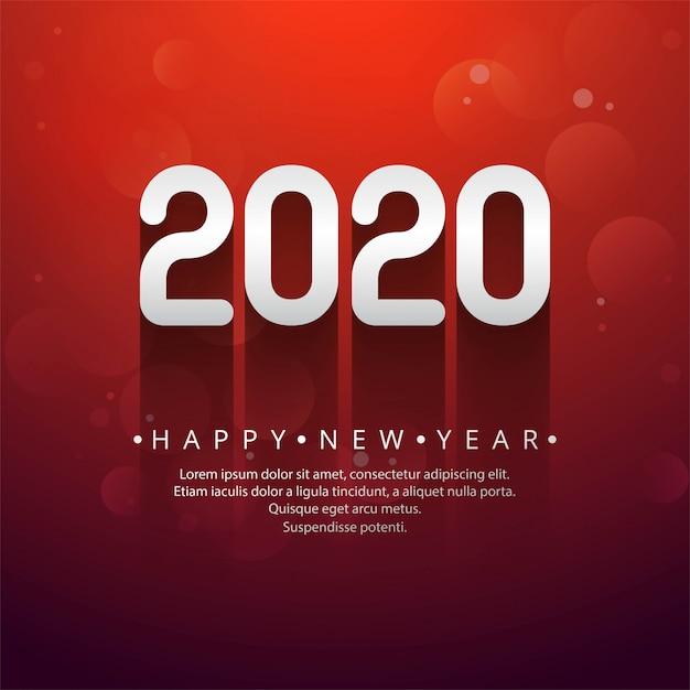 お祝い新年2020年創造的なテキスト 無料ベクター
