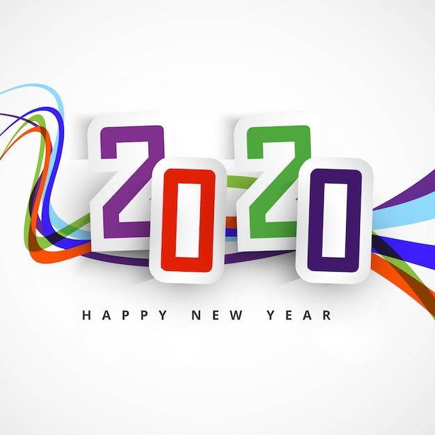 Дизайн карты празднования текста с новым годом 2020 Бесплатные векторы