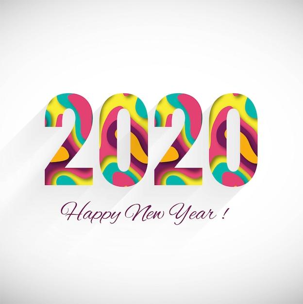 С новым годом 2020 зимняя праздничная открытка Бесплатные векторы
