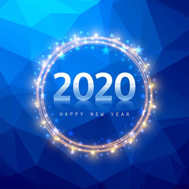 青い多角形の2020年新年テキスト 無料ベクター