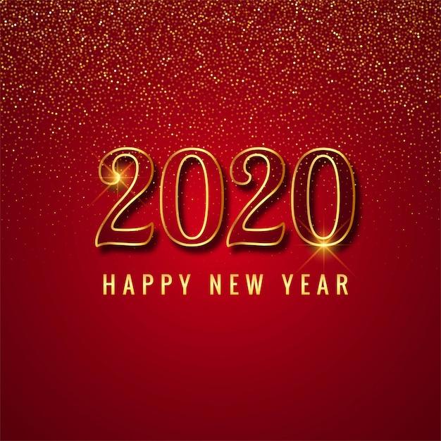 Празднование 2020 года на красном Бесплатные векторы