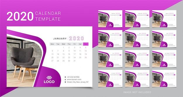 Шаблон настольного календаря 2020 Premium векторы