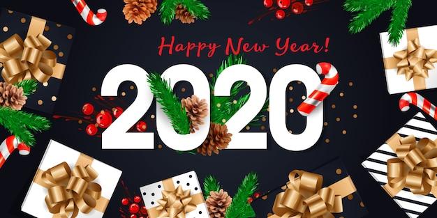 2020新年あけましておめでとうございますグリーティングカード Premiumベクター