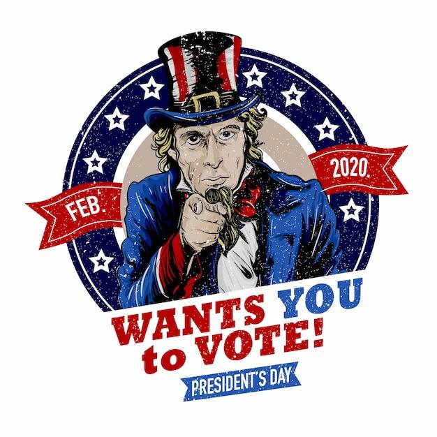 Дядя сэм хочет, чтобы вы проголосовали в день президента 2020 Premium векторы