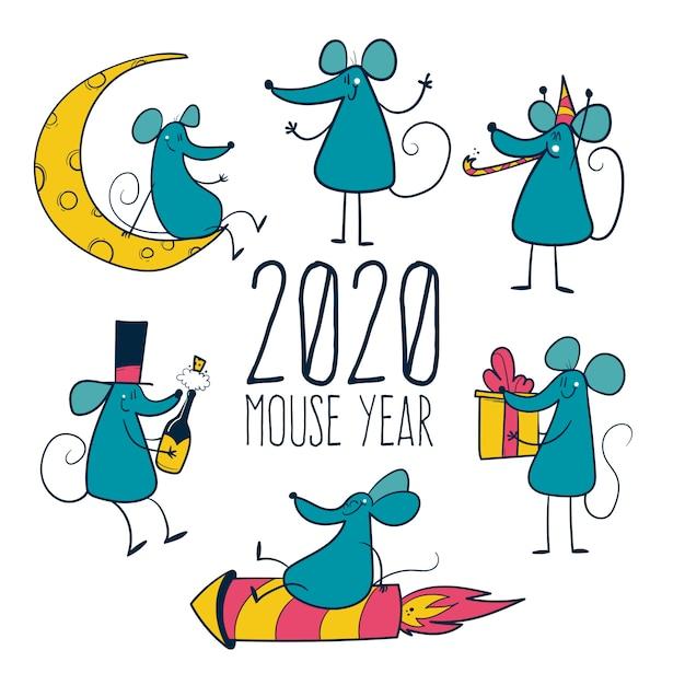手描きのマウスで2020年 Premiumベクター