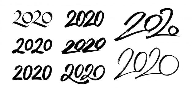 新年2020年書道番号のセット Premiumベクター