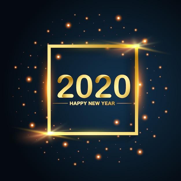 青の背景に新年2020スクエアゴールドが輝く Premiumベクター