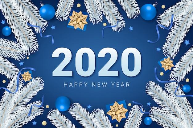 青の背景に2020年新年あけましておめでとうございますテキスト Premiumベクター