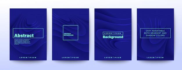 暗い青色の背景に抽象的なリップル曲線形状。 2020年の色 Premiumベクター