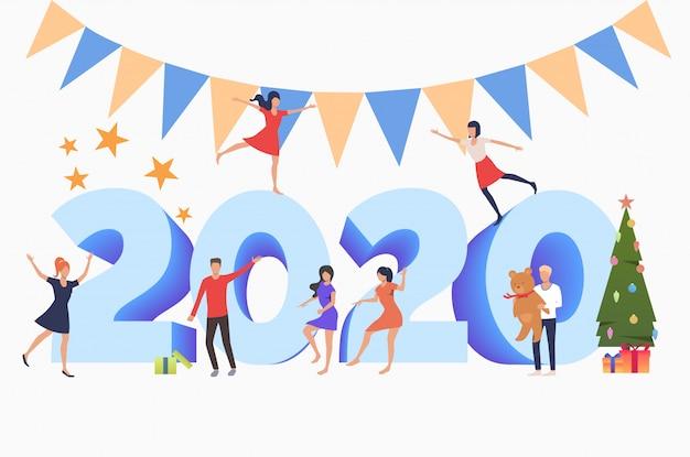 2020年の新年を祝う男女 無料ベクター