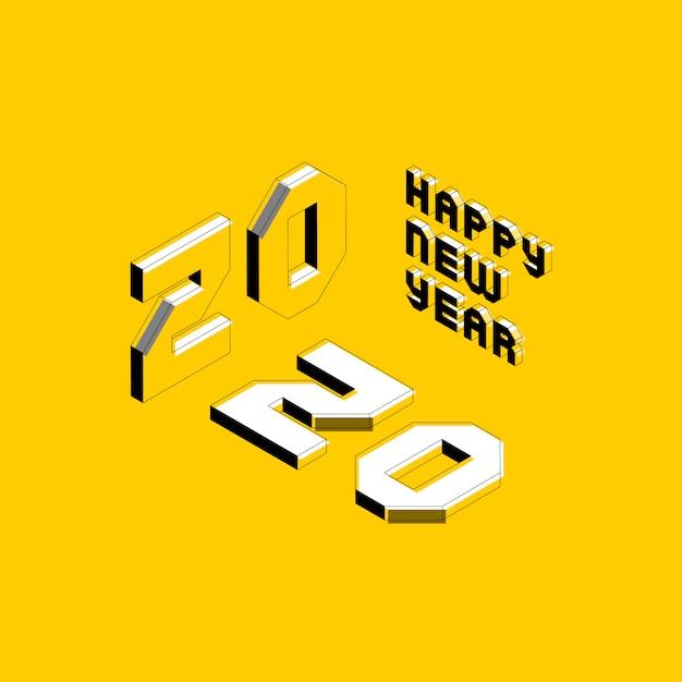 グリーティングカード、ポスター、招待状、パンフレットの等尺性文字で2020新年あけましておめでとうございますバナーデザインレイアウト Premiumベクター