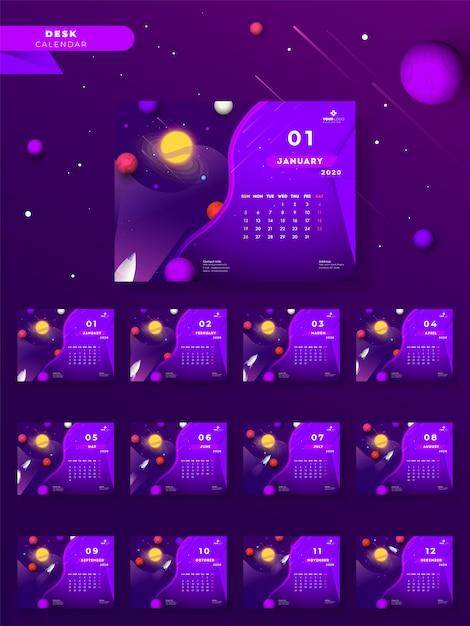 2020 годовой настольный календарь со вселенной и ракета на фиолетовый Premium векторы