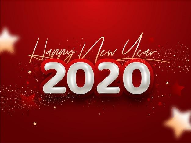 赤の紙吹雪と幸せな新年2020 Premiumベクター