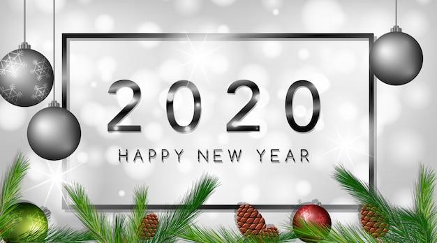 С новым годом баннер 2020 Бесплатные векторы