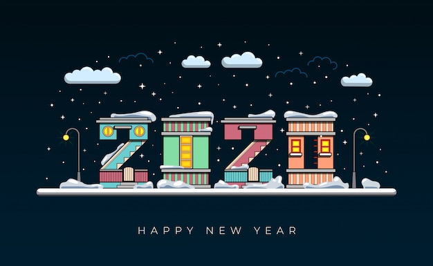 ラットの新年あけましておめでとうございます2020年。 Premiumベクター