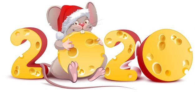 2020年のネズミ、スイスチーズを持ったサンタネズミ Premiumベクター