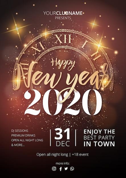 Реалистичный плакат с новым годом 2020 Бесплатные векторы