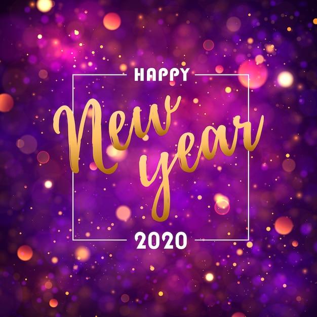 お祝いの紫、黄金色のライトのボケ味。明けましておめでとう2020。 Premiumベクター