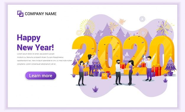 人々は、ギフトと花火のバナーで新年2020を祝っています Premiumベクター