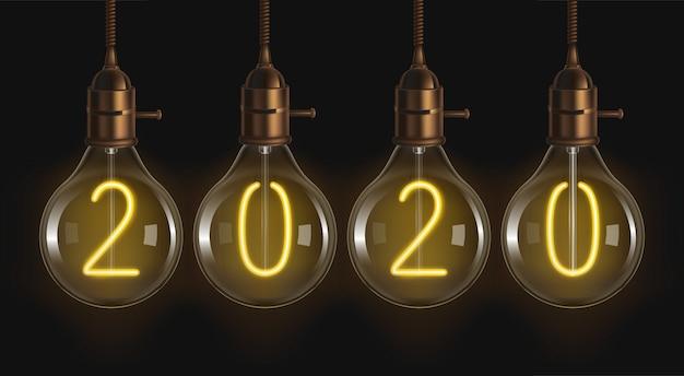 2020 светящихся цифр внутри ламп накаливания Бесплатные векторы