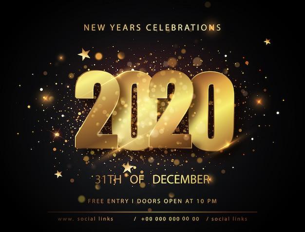 Рождественские и новогодние плакаты с номерами 2020 года. , зимние праздничные приглашения с геометрическими украшениями Premium векторы