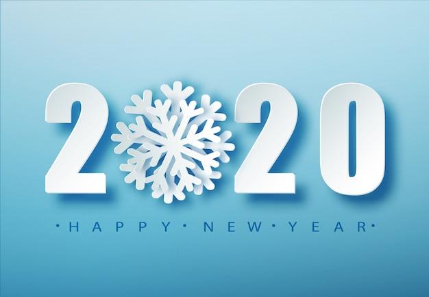 2020ブルークリスマスタイポグラフィ。雪が降ると冬のシーズンの背景。クリスマスと新年のポスターテンプレート。休日のご挨拶。 。 Premiumベクター