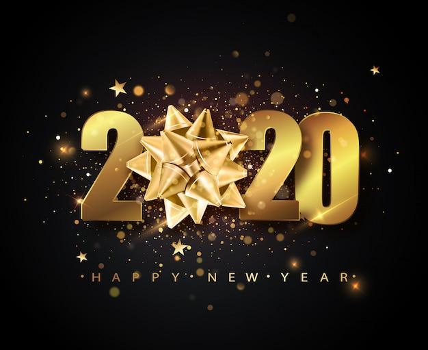 2020新年あけましておめでとうございます、ゴールデンギフト弓、紙吹雪、ゴールドの番号。 Premiumベクター