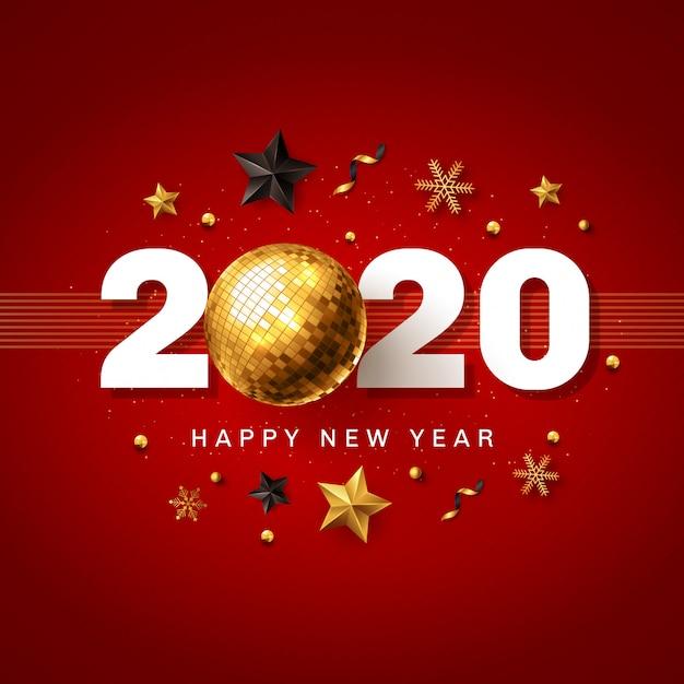 新年あけましておめでとうございます2020赤と金色 Premiumベクター