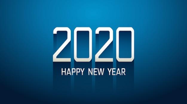 新年あけましておめでとうございます2020長いドロップシャドウブルーの背景を持つ技術本文 Premiumベクター