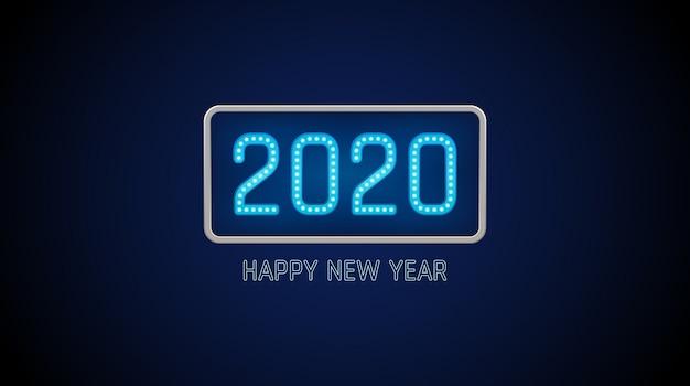 С новым годом 2020 текст в лампочку с ярким неоном на синем цветном фоне Premium векторы