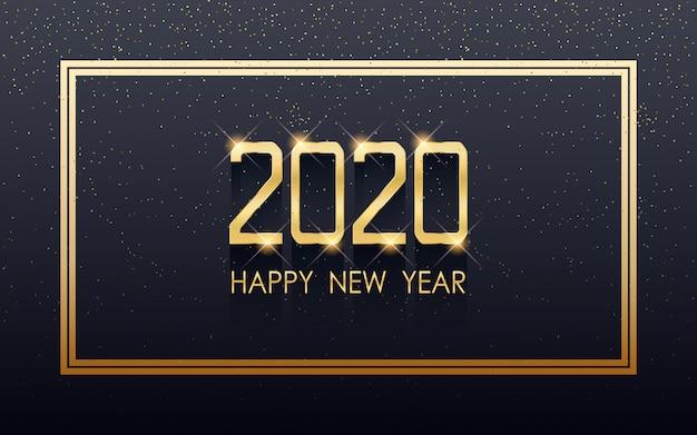 黒い色の背景に流れるキラキラと正方形のラベルで黄金の新年あけまして2020 Premiumベクター