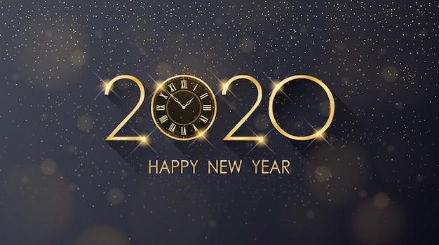 Золотой с новым годом 2020 и часы с блеском на черном цветном фоне Premium векторы