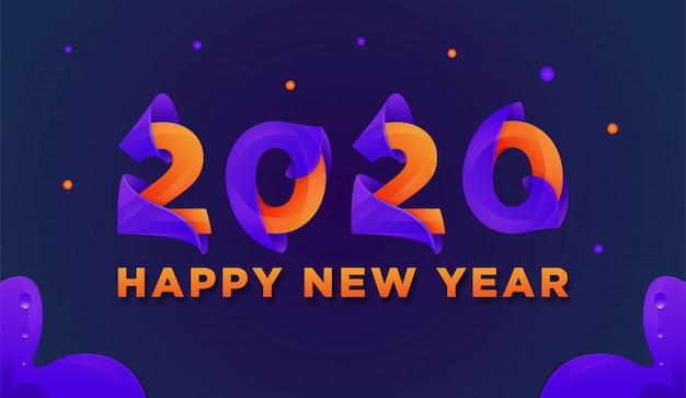 新年あけましておめでとうございます2020カラフルなグリーティングカードベクトル Premiumベクター