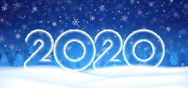 2020年の新年番号テキストバナー、雪の青い空を背景に雪の冬の空。 Premiumベクター