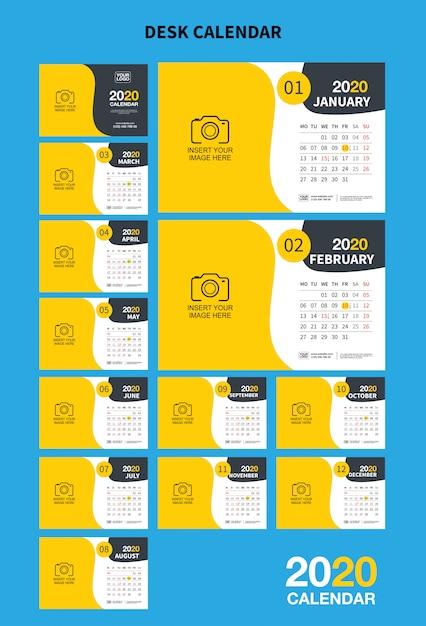 Настенный календарь настенный шаблон на 2020 год. векторный дизайн шаблона печати Premium векторы