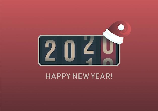 2020年。クリスマスサンタ帽子、レトロなスタイルのデザインとアナログカウンター表示。ベクトルイラスト。 Premiumベクター