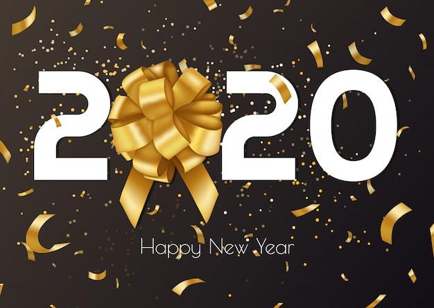 ゴールデンギフト弓、紙吹雪、白い数字で2020年新年あけましておめでとうございますのベクトルの背景。クリスマスデザインのバナー。 Premiumベクター
