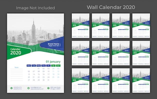 壁掛けカレンダー2020 Premiumベクター