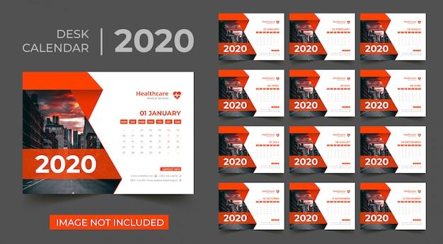 卓上カレンダー2020 Premiumベクター