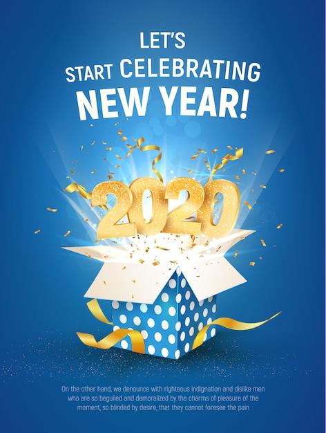 2020 золотой номер летать из синей подарочной коробке. плакат празднование нового года, шаблон Premium векторы