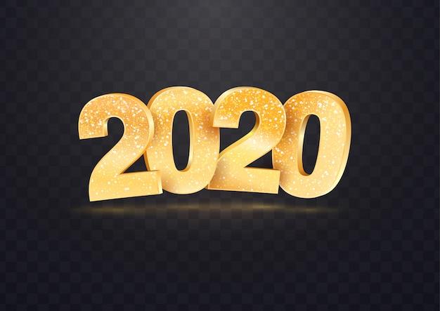 透明な背景に2020ゴールデンベクトル番号 Premiumベクター