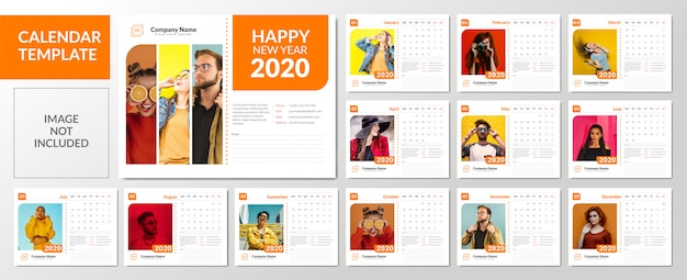 Минималистский набор шаблонов настольного календаря 2020 года Premium векторы