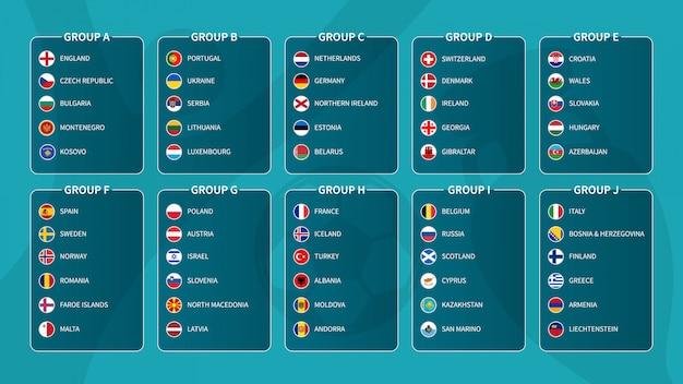 Европейский футбольный турнир отборочного розыгрыша 2020. группа международных футбольных команд с флагом страны плоский круг. , Premium векторы
