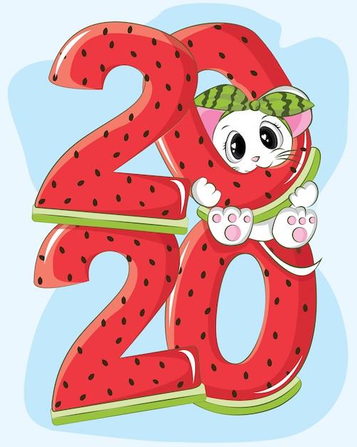 スイカとかわいいマウス新年あけましておめでとうございます2020 Premiumベクター