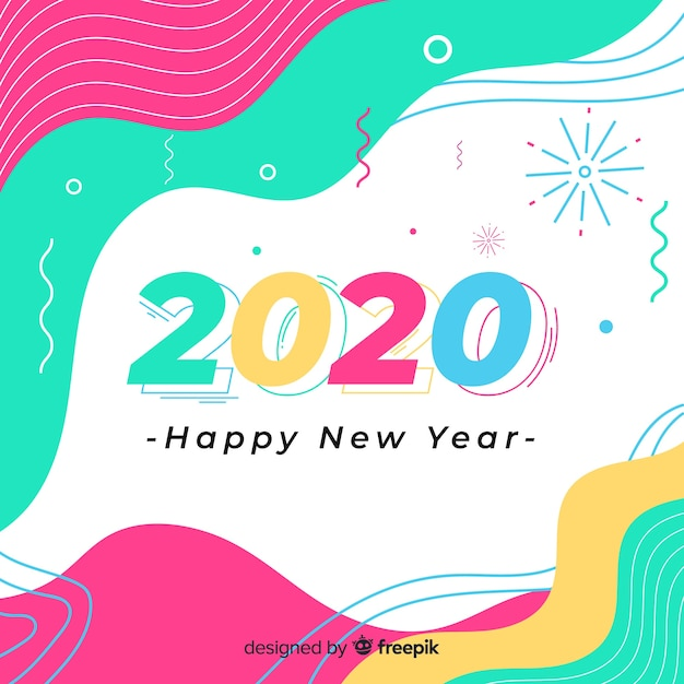 フラットデザインの新年2020 無料ベクター