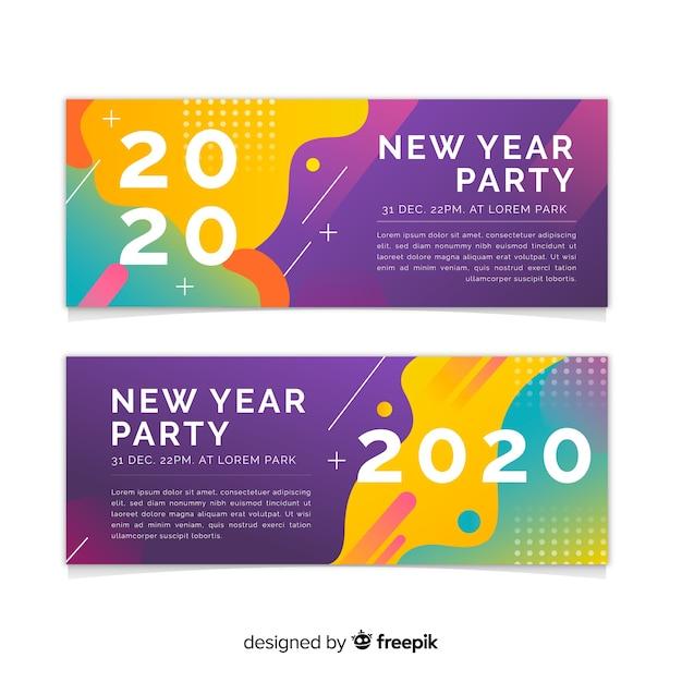 新年2020パーティーバナーのフラットなデザイン 無料ベクター